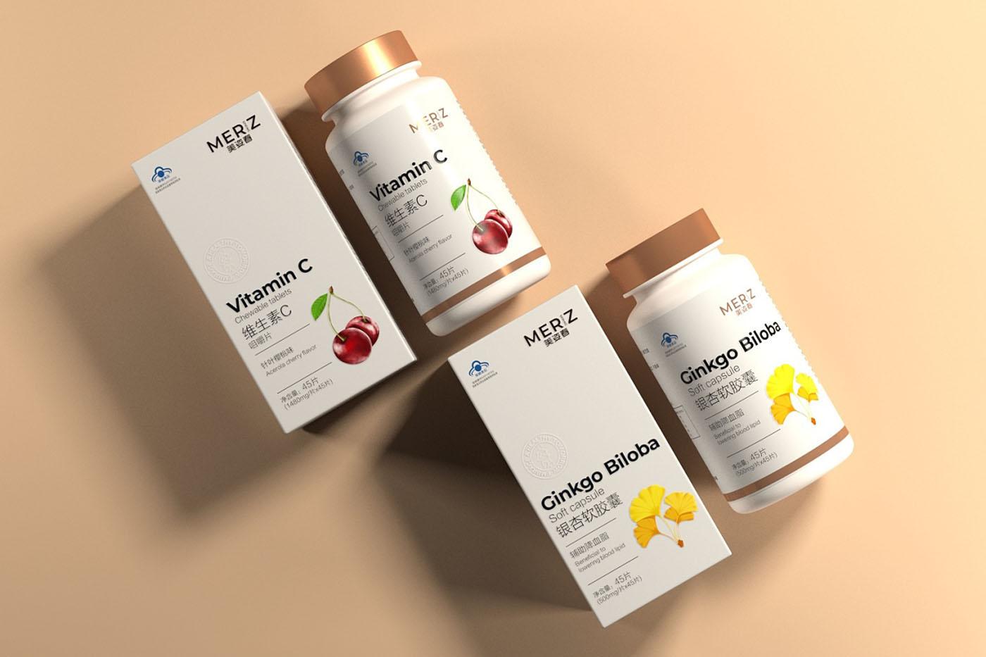 维生素系列保健品包装设计-瓶装保健品包装设计