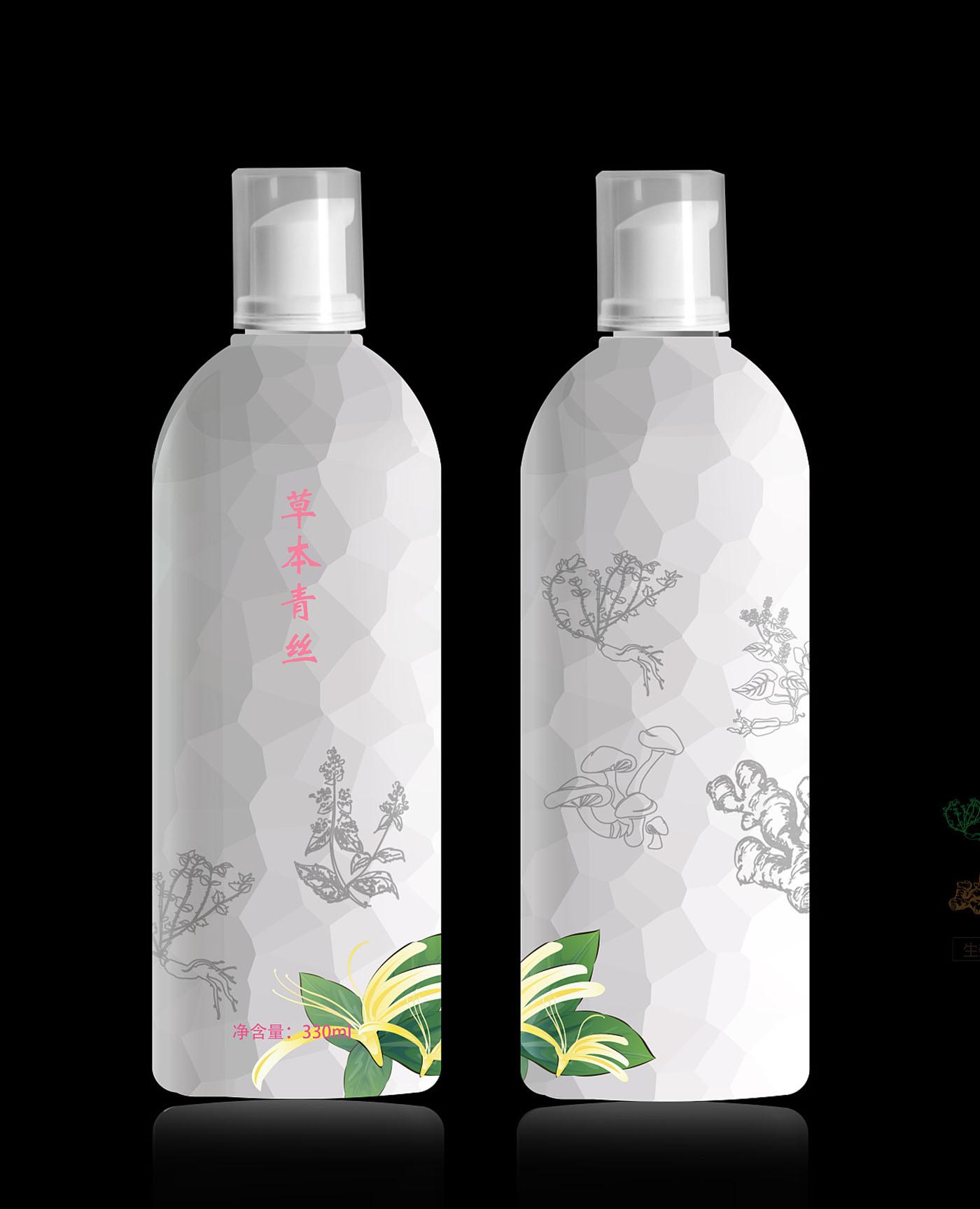 草本青丝洗发水包装设计-洗发水包装设计公司